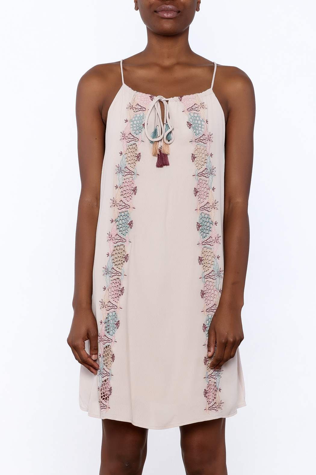 Lush Mauve Embroidered Dress - Side Cropped Image