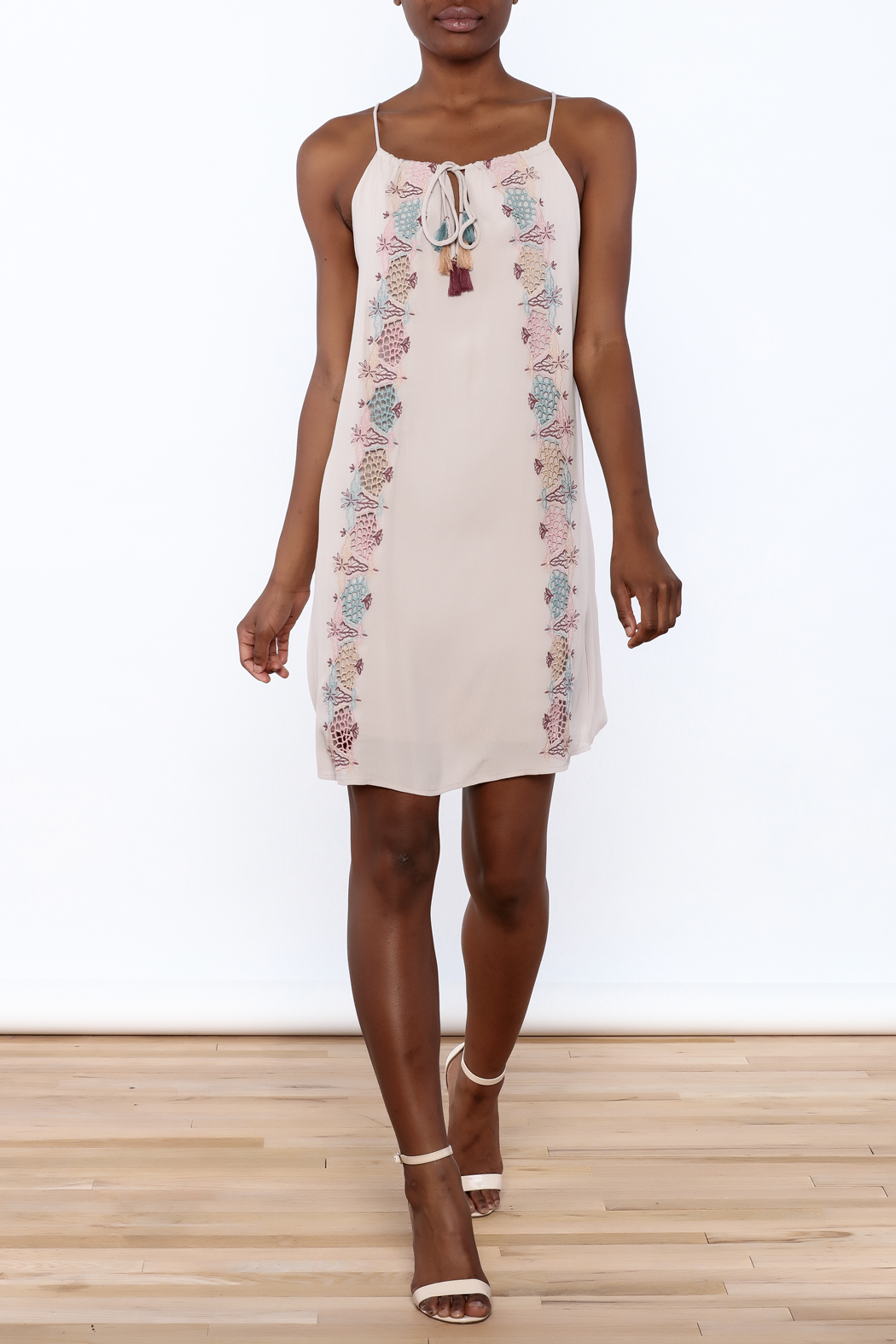 Lush Mauve Embroidered Dress - Front Full Image