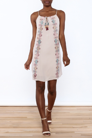 Lush Mauve Embroidered Dress - Front full body
