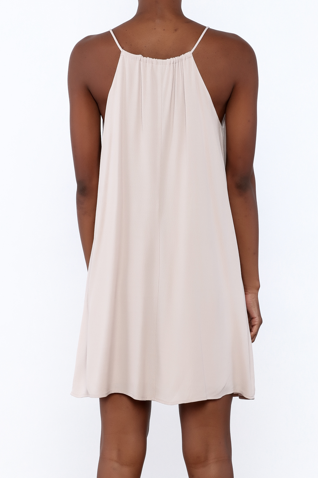 Lush Mauve Embroidered Dress - Back Cropped Image