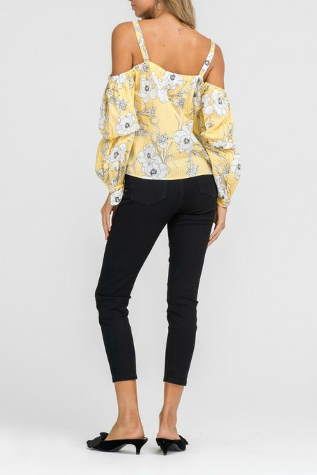 Lush Floral Cold-Shoulder Top - Side Cropped Image