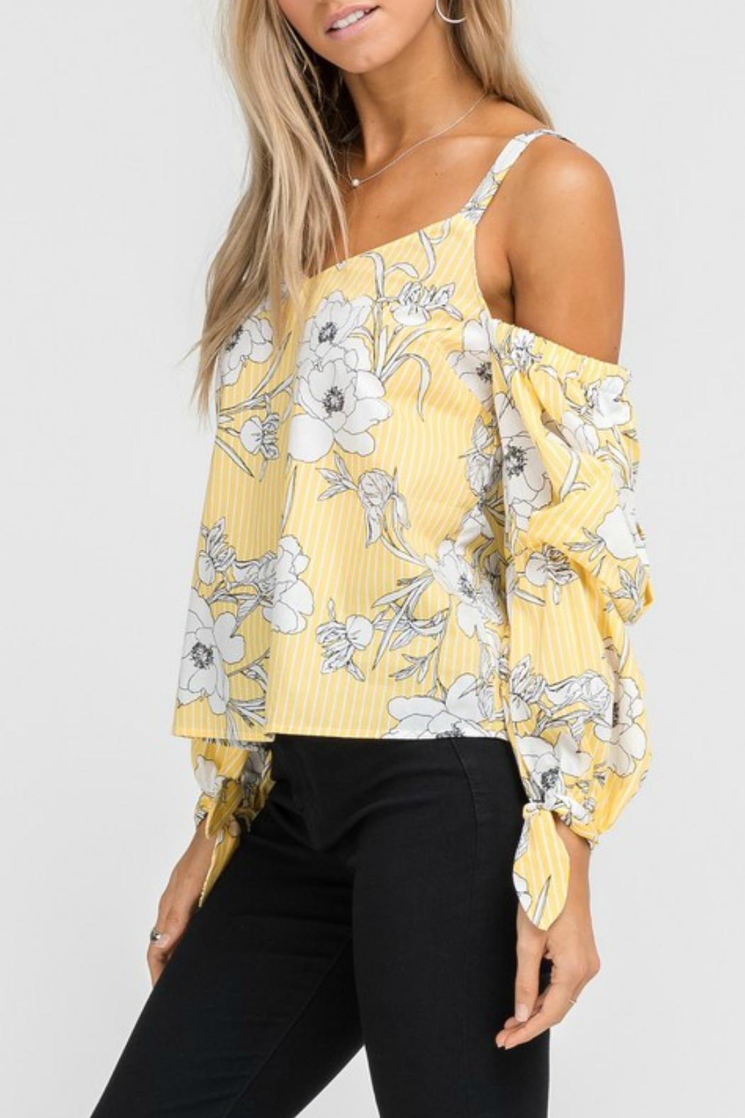 Lush Floral Cold-Shoulder Top - Front Full Image