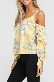 Lush Floral Cold-Shoulder Top - Front full body