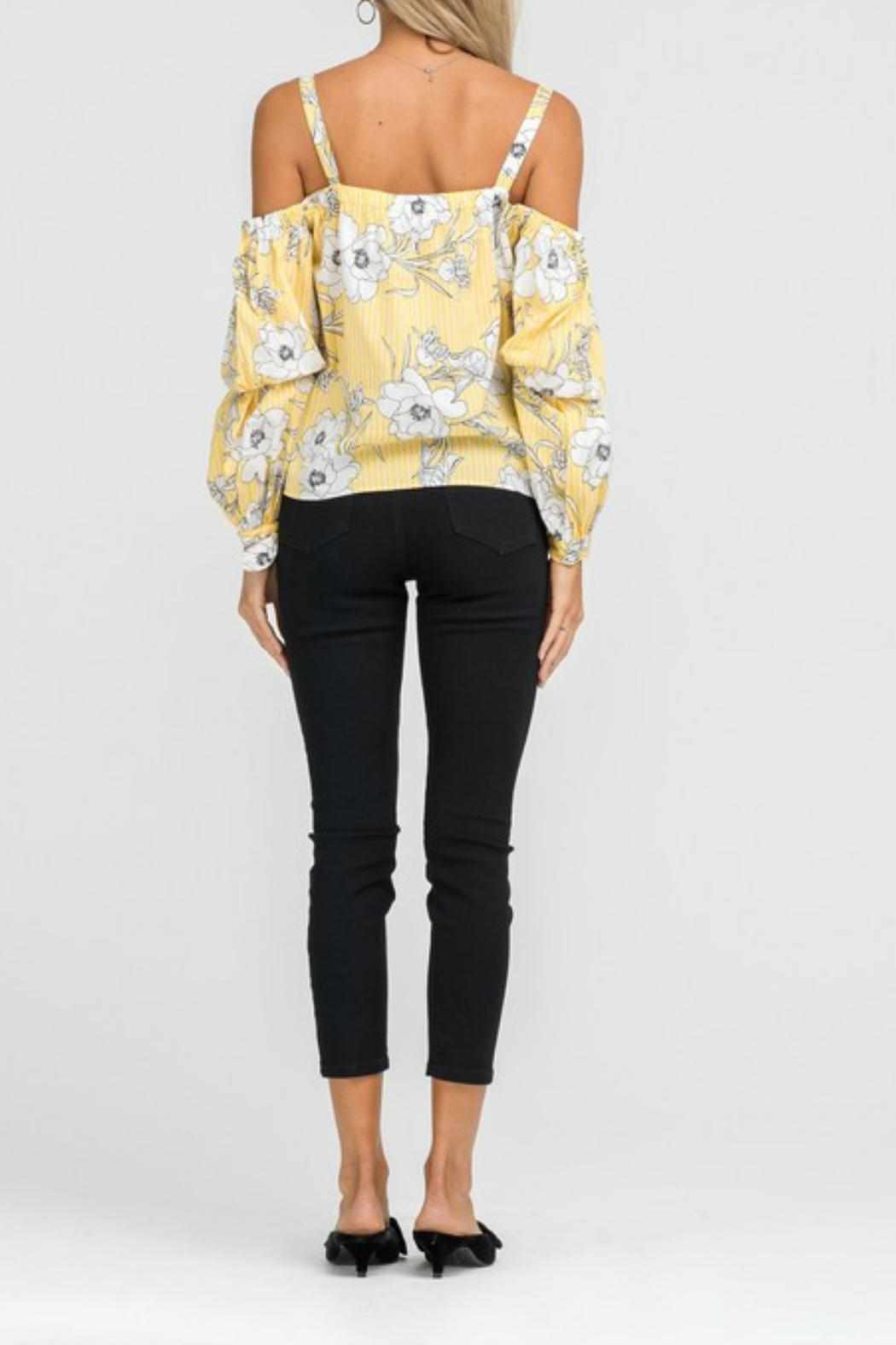 Lush Floral Cold-Shoulder Top - Back Cropped Image