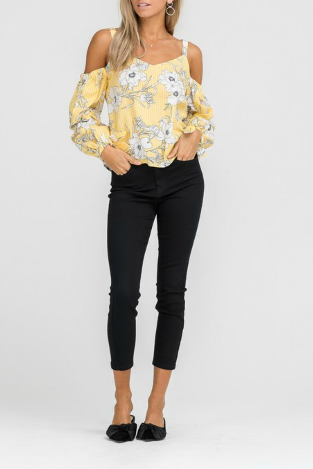 Lush Floral Cold-Shoulder Top - Main Image
