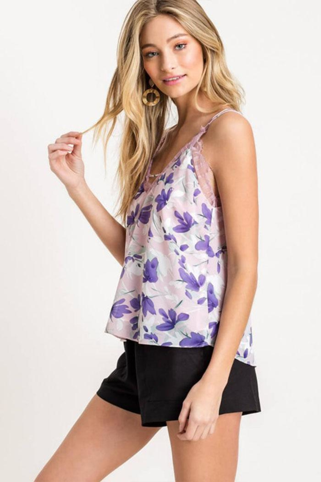 Lush Floral Lace Cami - Front Full Image