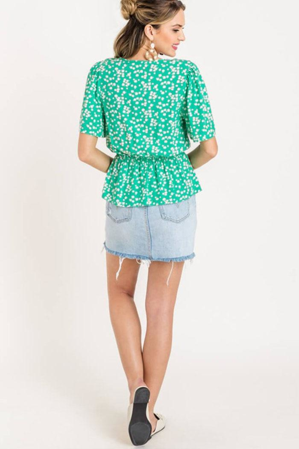 Lush Floral Peplum Top - Back Cropped Image