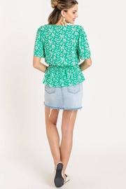 Lush Floral Peplum Top - Back cropped