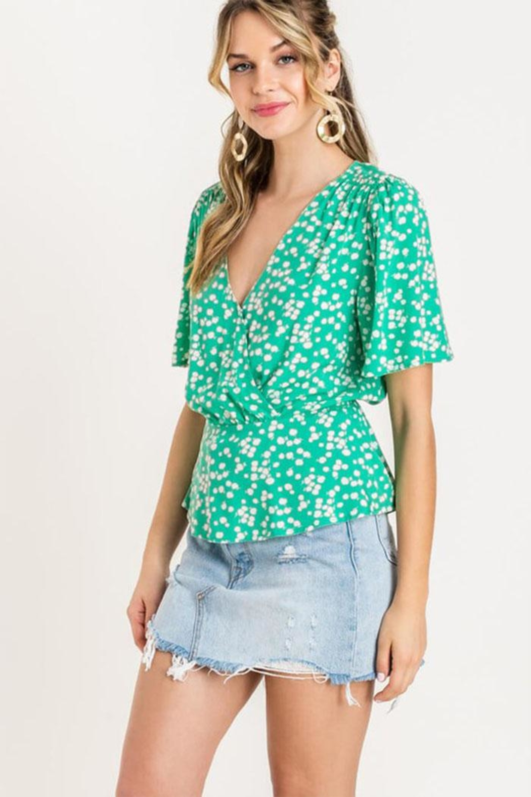 Lush Floral Peplum Top - Side Cropped Image
