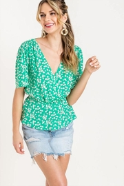 Lush Floral Peplum Top - Product Mini Image