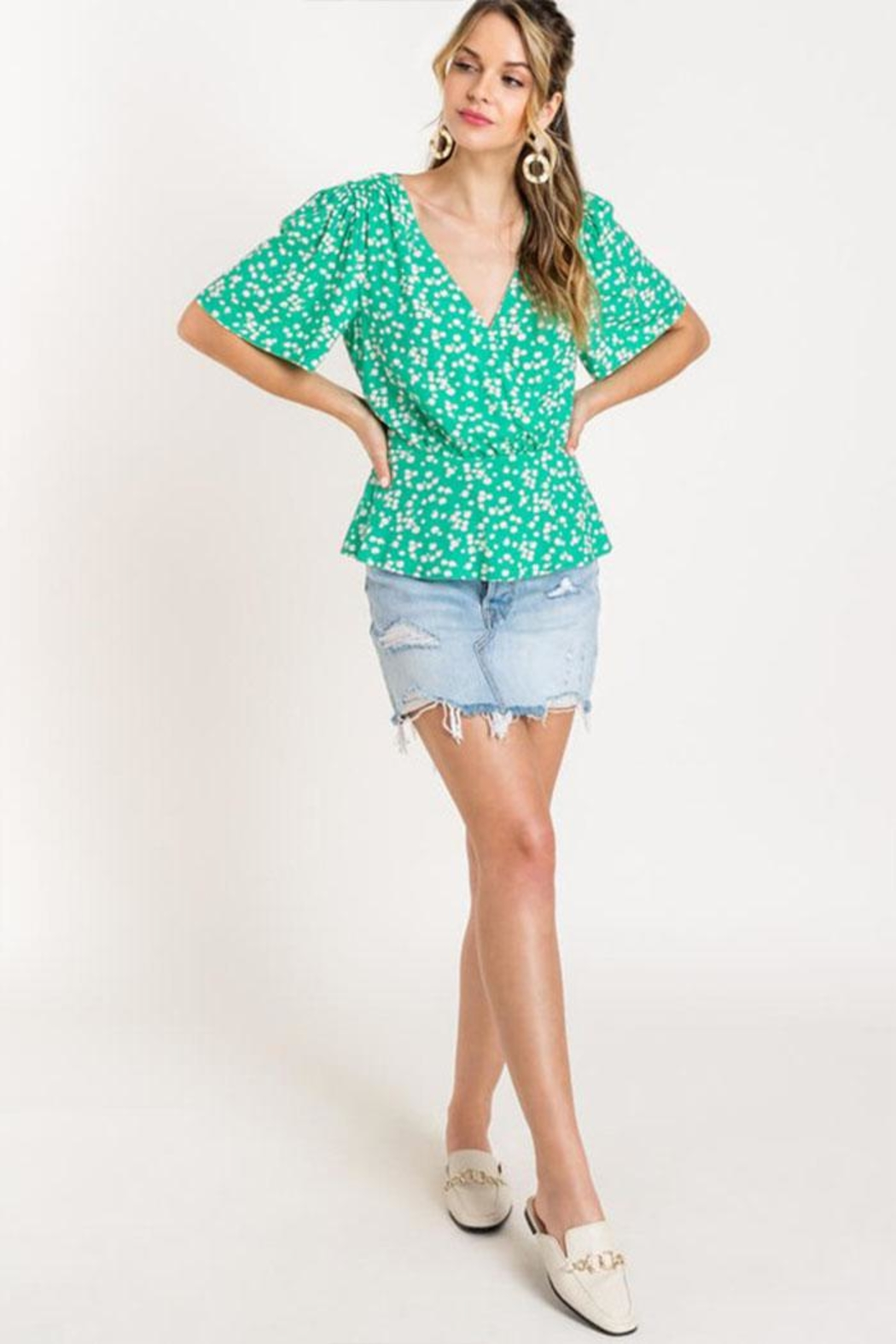 Lush Floral Peplum Top - Front Full Image