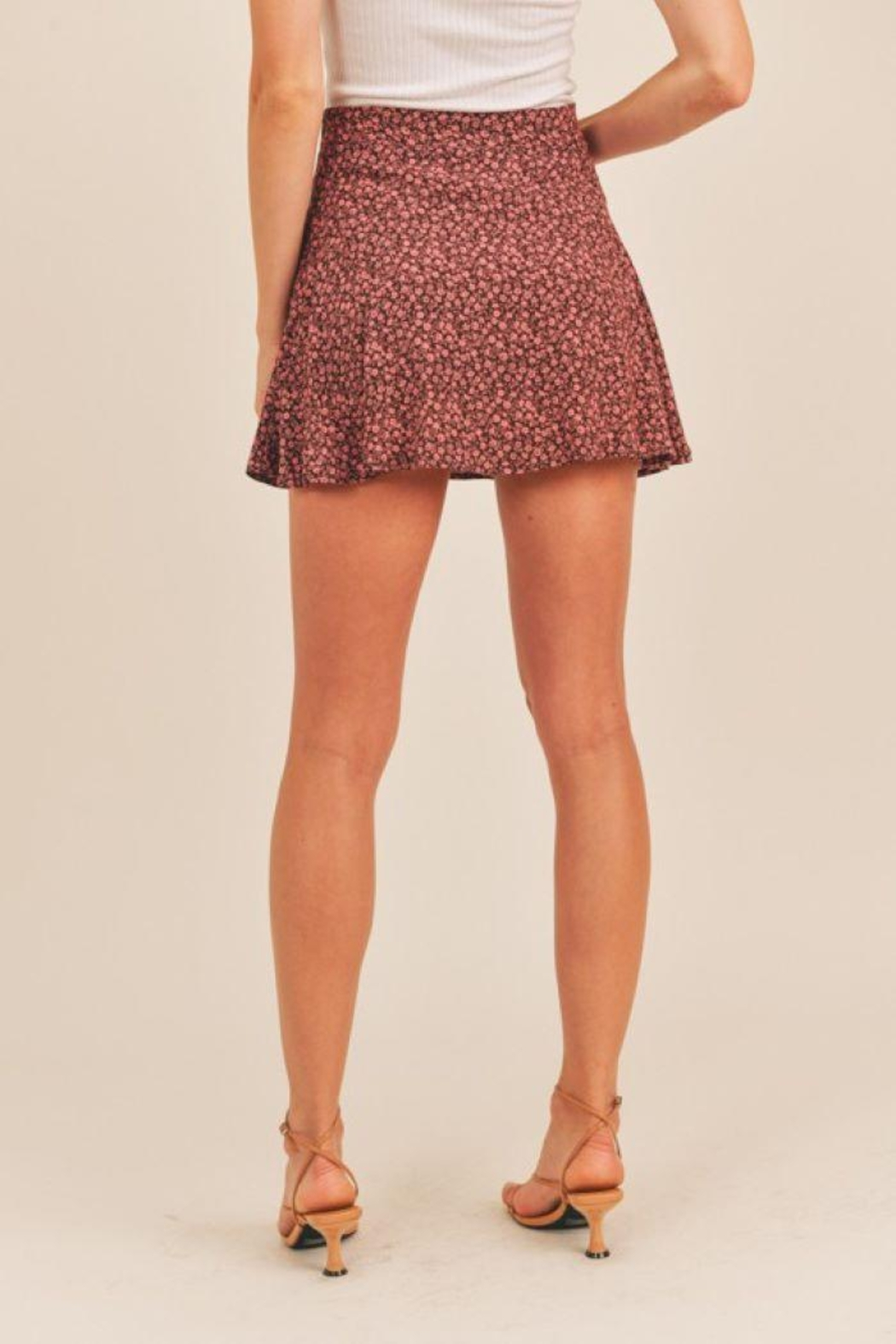 Lush Floral Print Berry Mini Skirt - Side Cropped Image