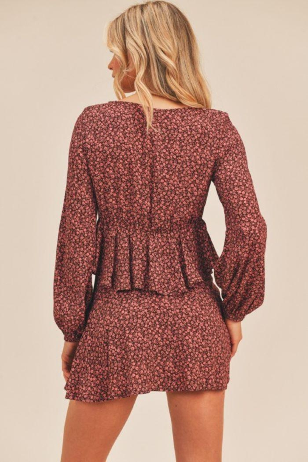 Lush Floral Print Berry Top - Side Cropped Image