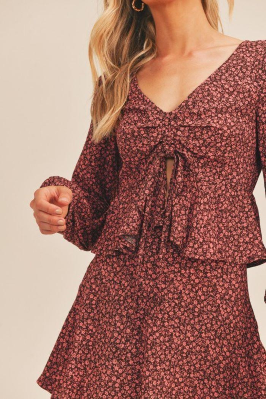 Lush Floral Print Berry Top - Front Full Image