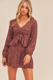 Lush Floral Print Berry Top - Product Mini Image