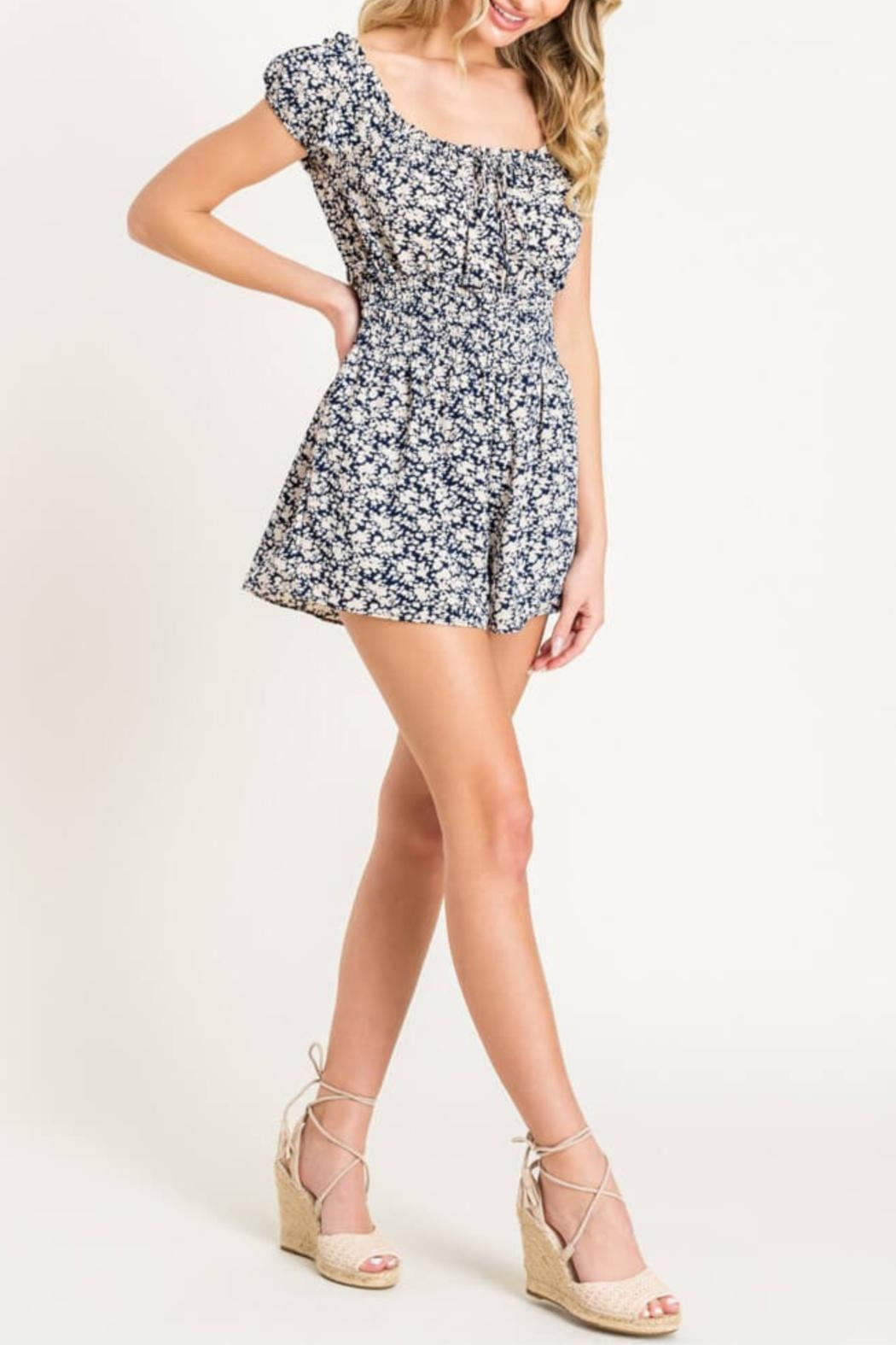 Lush Floral Print Romper - Side Cropped Image