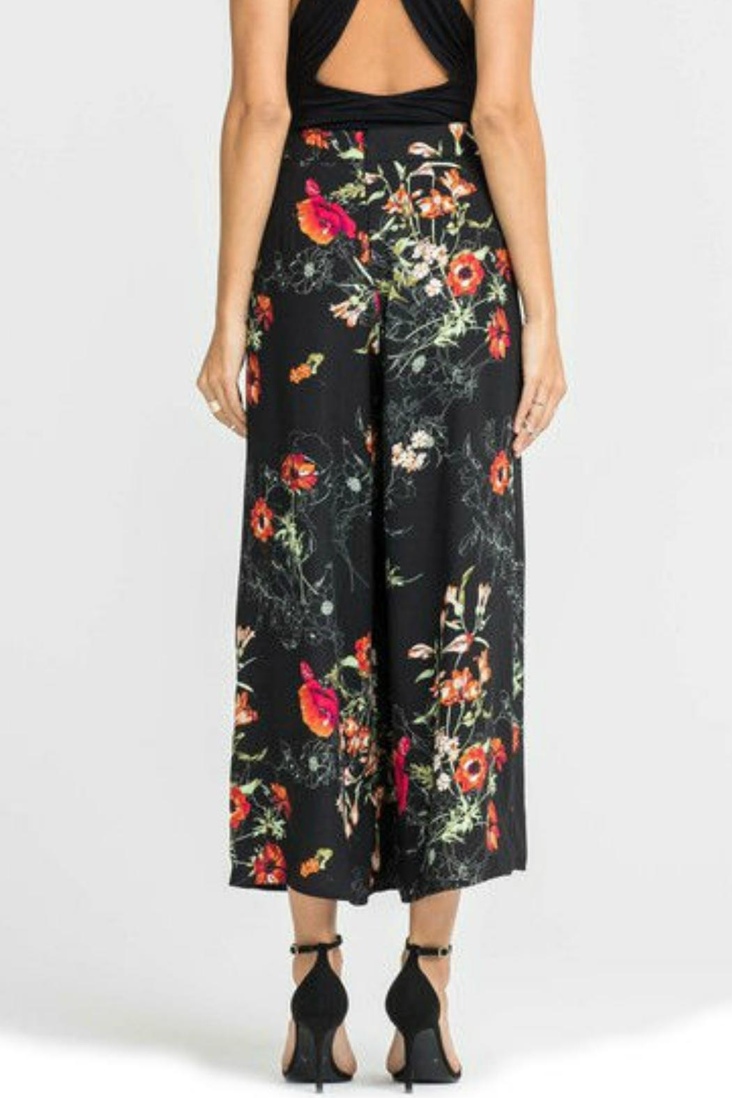 Lush Floral Printed Flare Pants - Side Cropped Image
