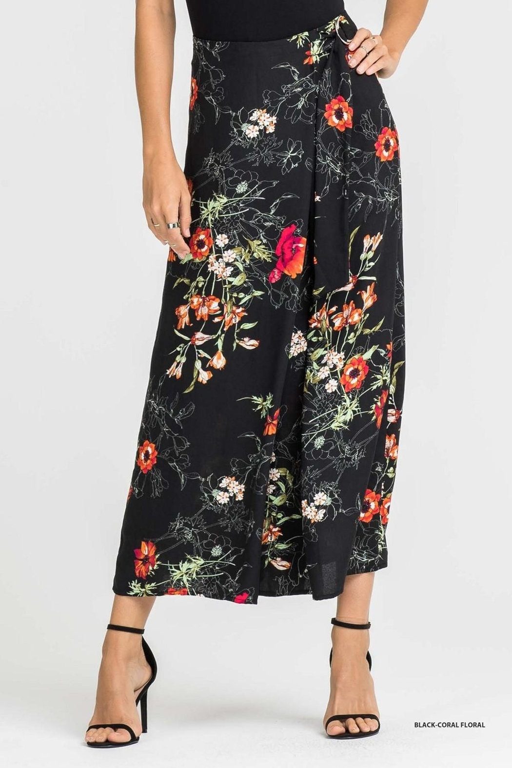 Lush Floral Printed Flare Pants - Front Full Image