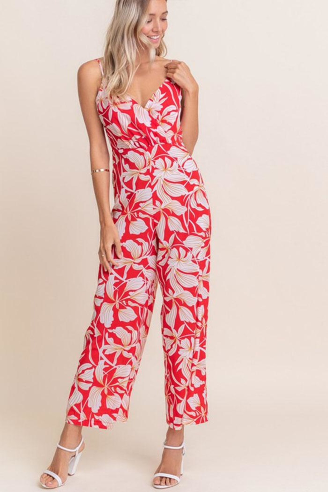 Lush Floral Sleeveless Jumpsuit - Front Cropped Image