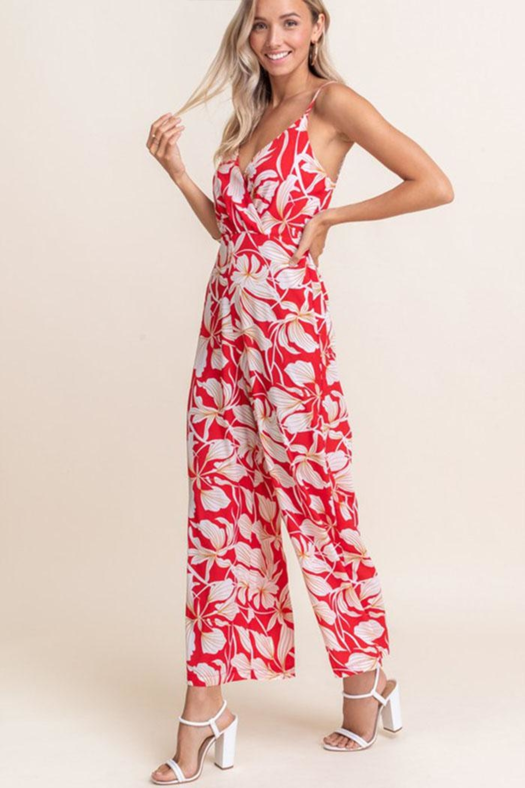 Lush Floral Sleeveless Jumpsuit - Front Full Image