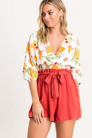 Lush Floral Surplice Blouse - Product Mini Image