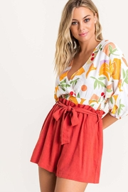 Lush Floral Surplice Blouse - Front full body
