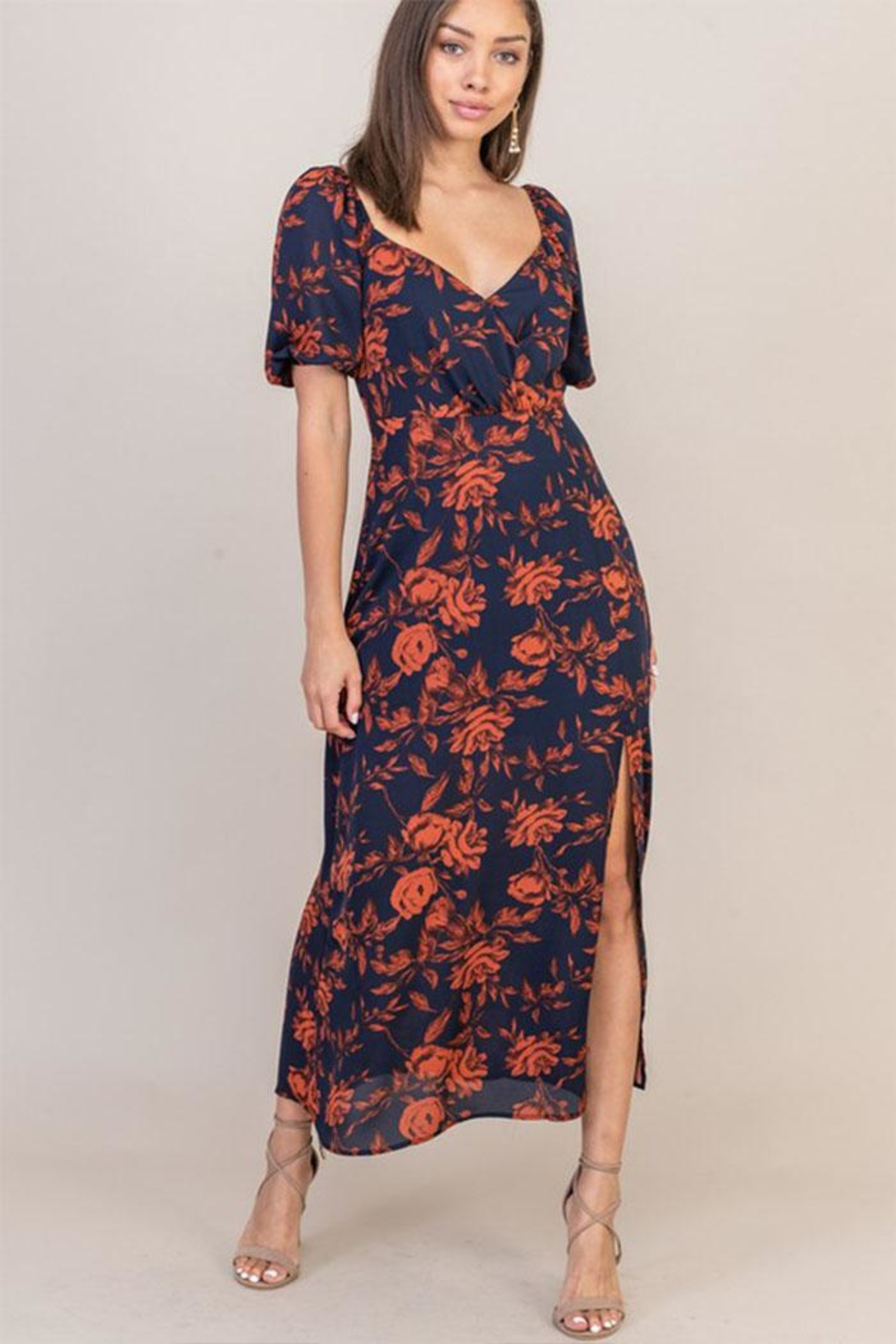 Lush Floral Sweetheart Dress - Main Image