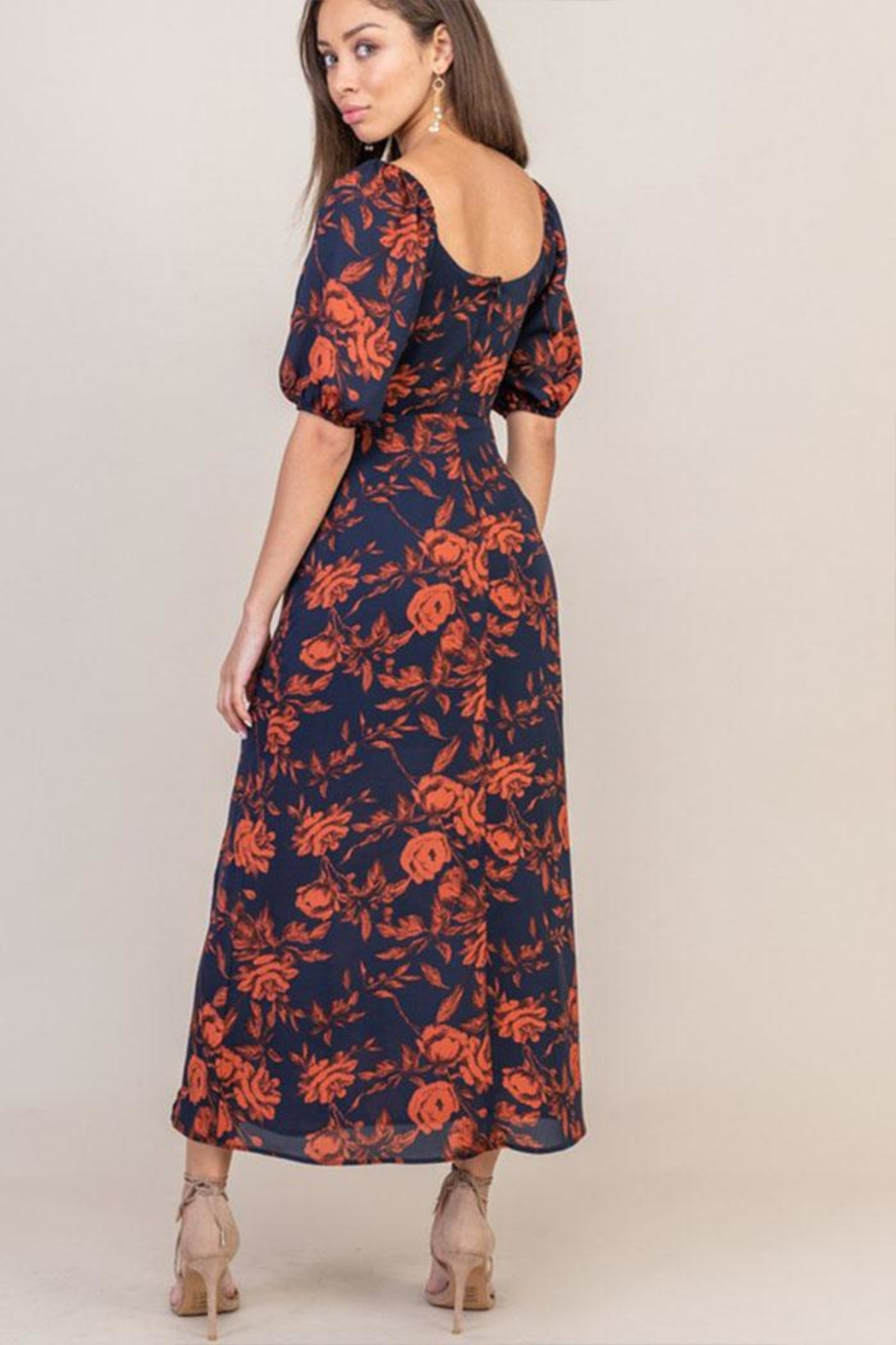 Lush Floral Sweetheart Dress - Back Cropped Image