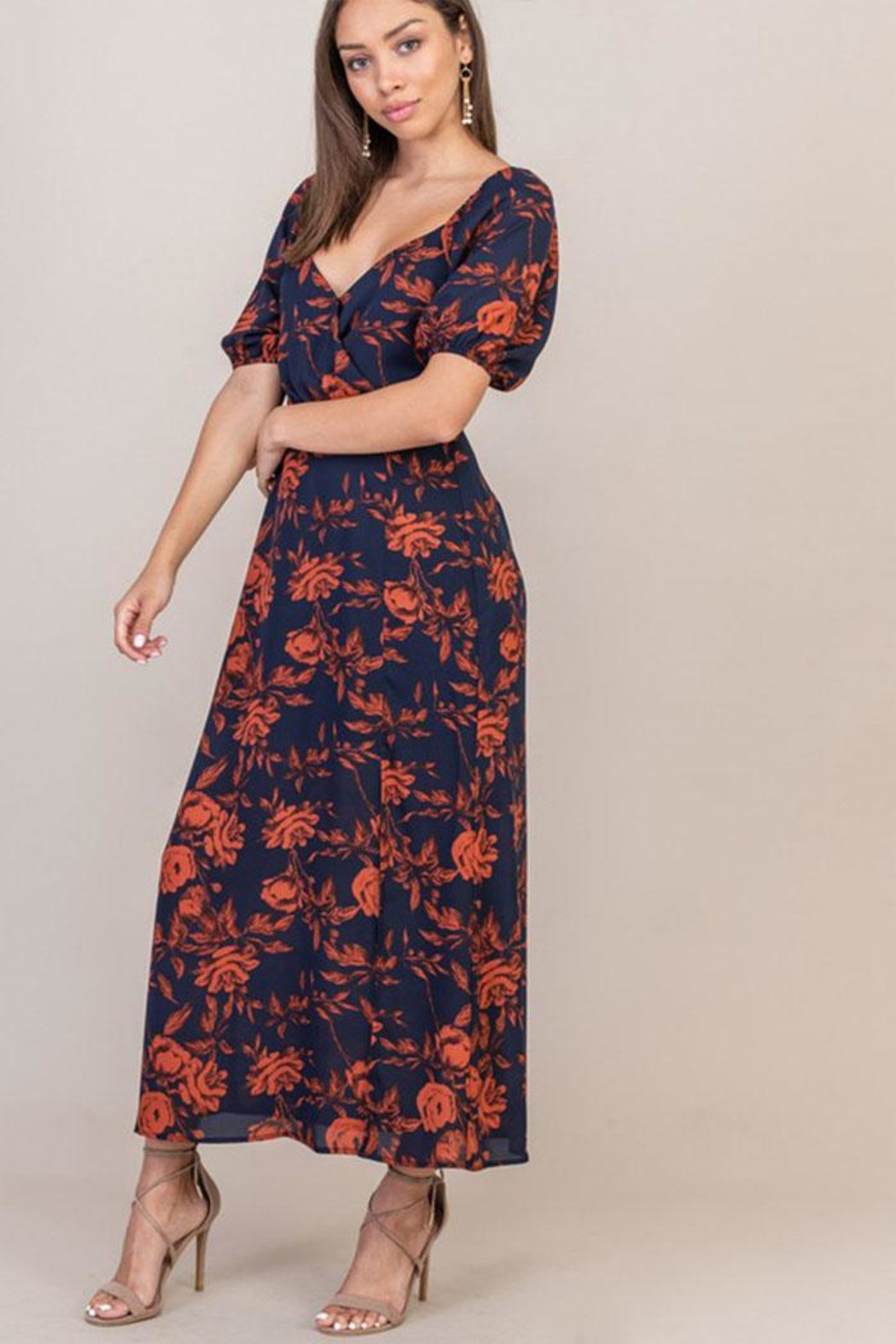 Lush Floral Sweetheart Dress - Front Full Image