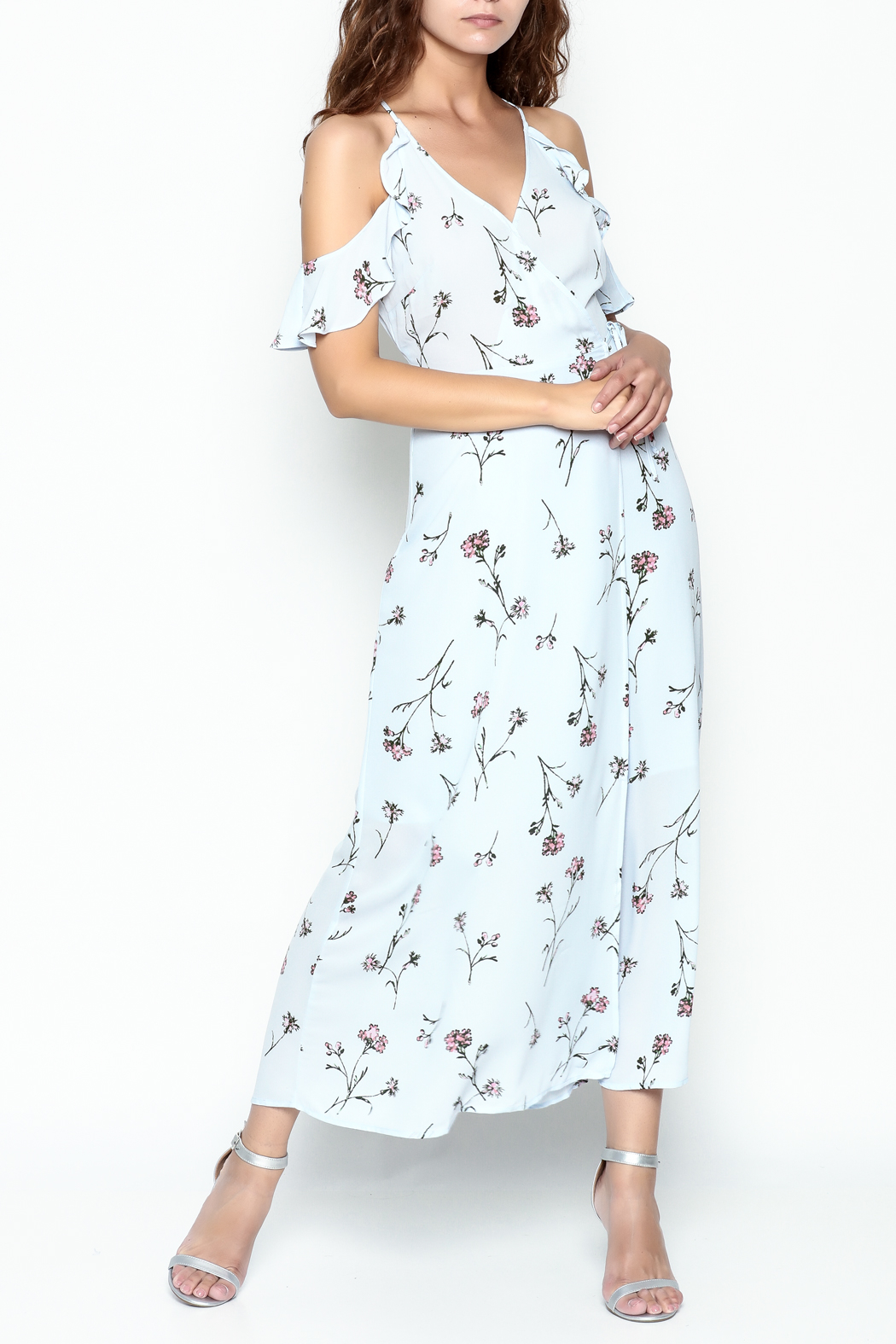 Lush Floral Woven Maxi Dress - Front Cropped Image