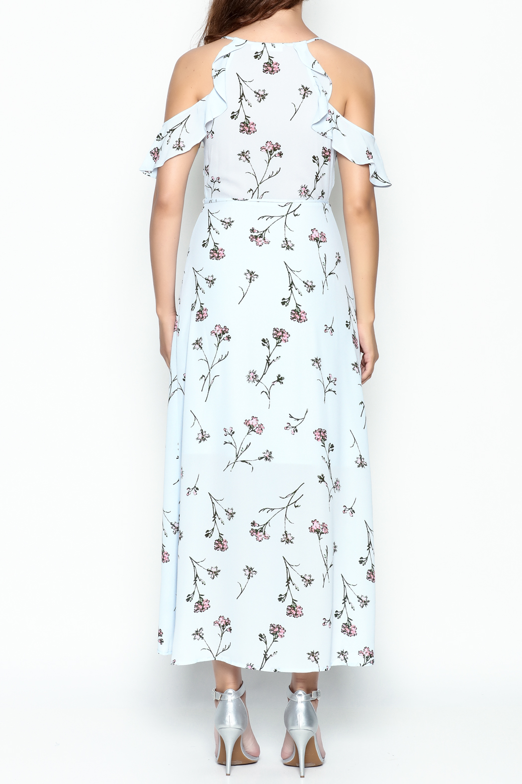 Lush Floral Woven Maxi Dress - Back Cropped Image