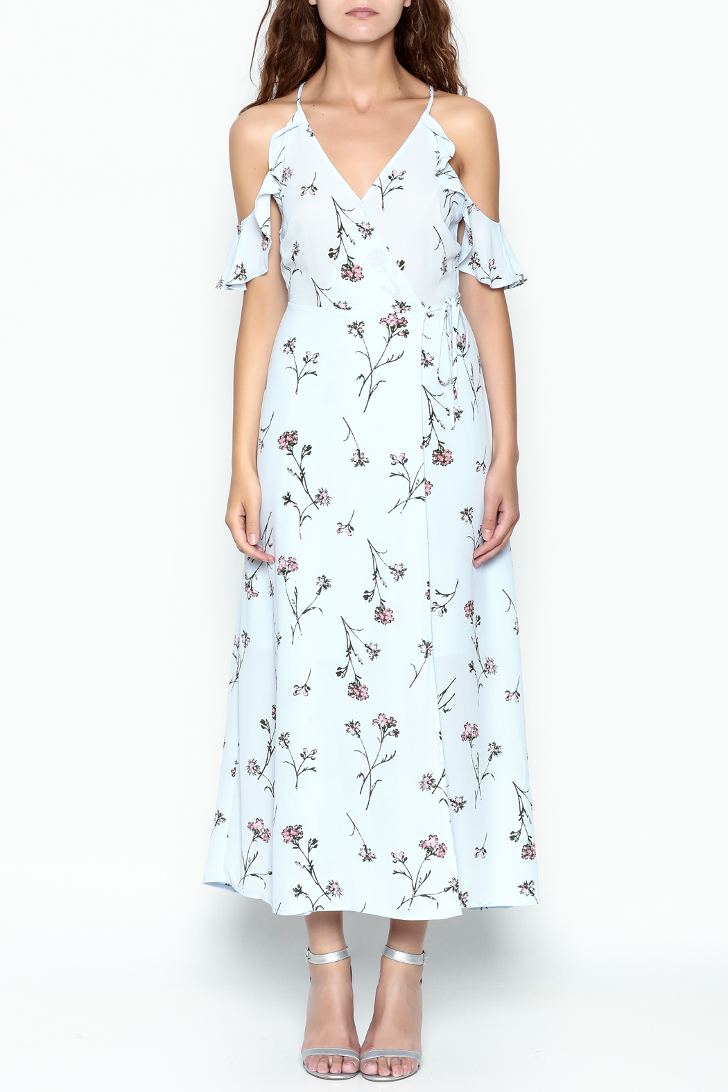Lush Floral Woven Maxi Dress - Front Full Image