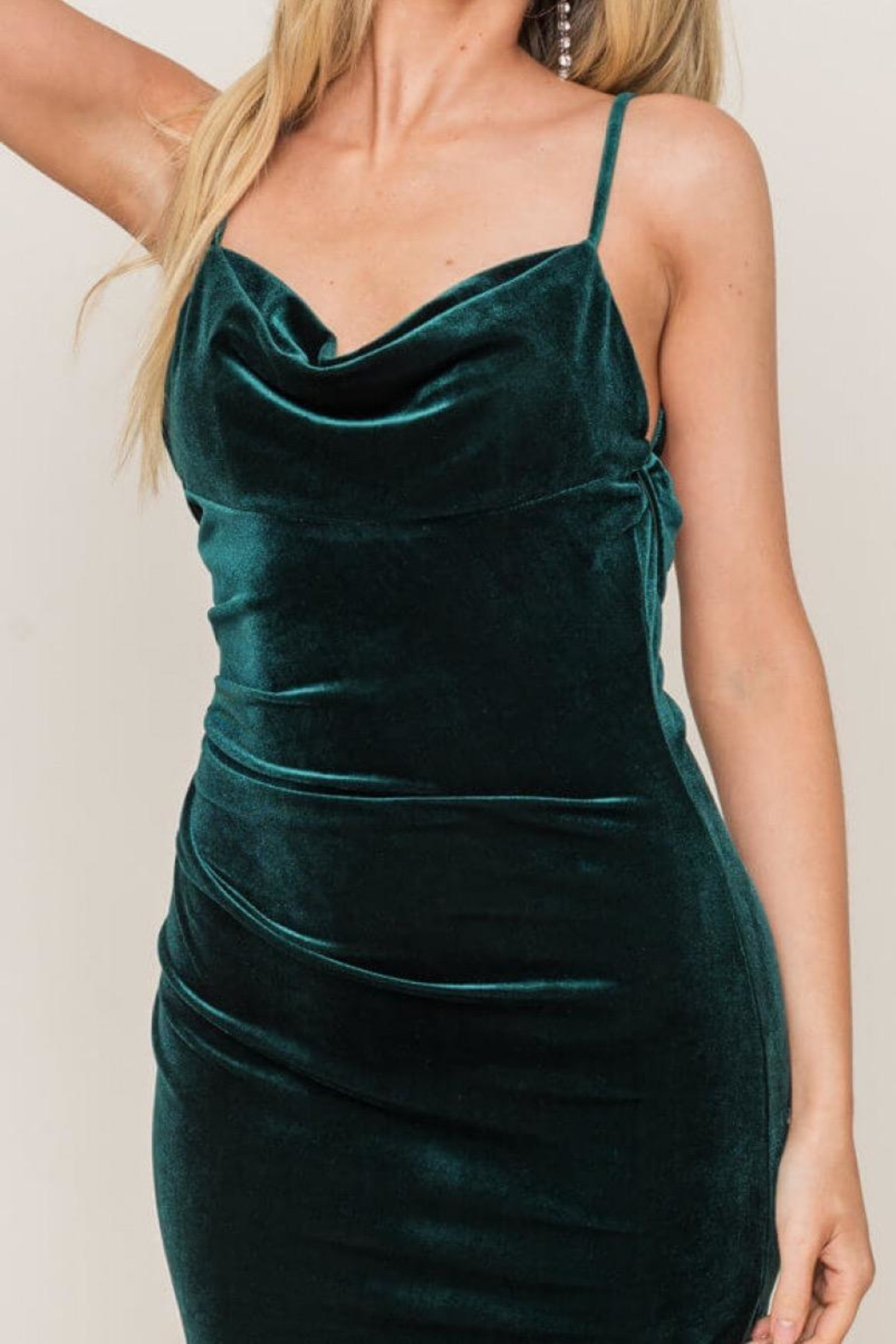 Lush Forest-Green Velvet Midi-Dress - Side Cropped Image
