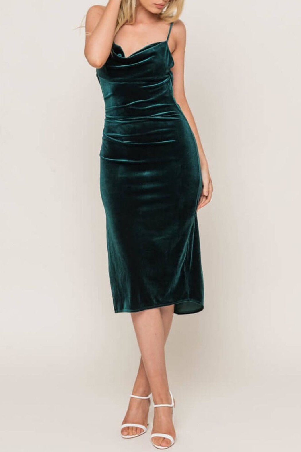 Lush Forest-Green Velvet Midi-Dress - Main Image