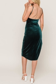 Lush Forest-Green Velvet Midi-Dress - Back cropped