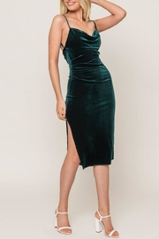 Lush Forest-Green Velvet Midi-Dress - Front full body