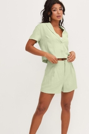 Lush Front Buttons And Collar Short Sleeve Top - Other