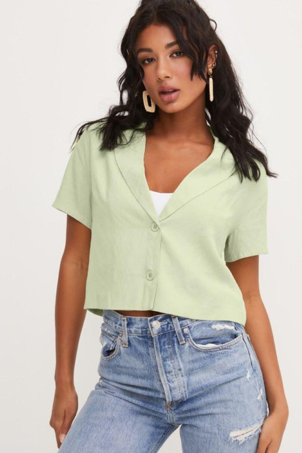 Lush Front Buttons And Collar Short Sleeve Top - Main Image