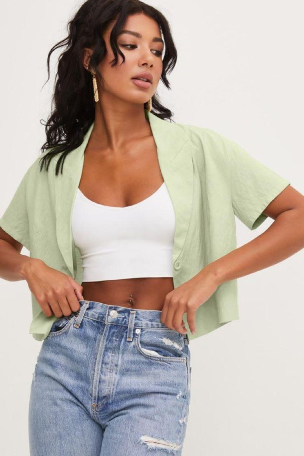 Lush Front Buttons And Collar Short Sleeve Top - Back Cropped Image
