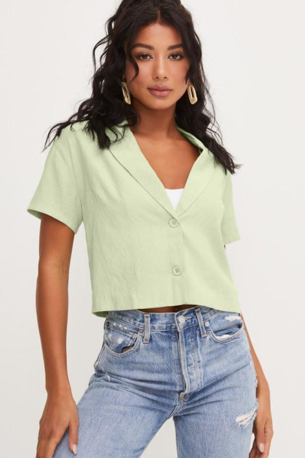 Lush Front Buttons And Collar Short Sleeve Top - Side Cropped Image