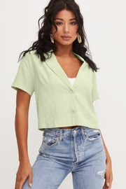 Lush Front Buttons And Collar Short Sleeve Top - Side cropped