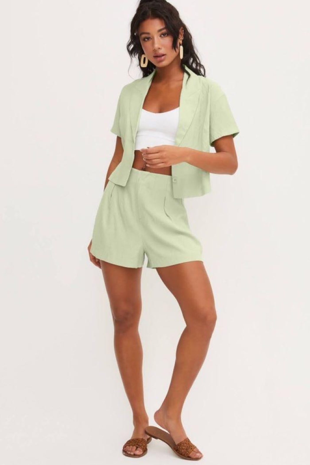 Lush Front Buttons And Collar Short Sleeve Top - Front Full Image
