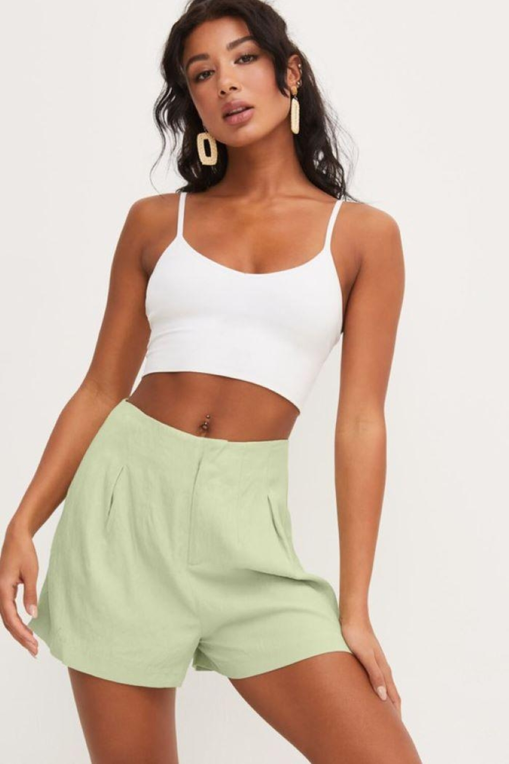 Lush Front Pleat Shorts - Front Cropped Image