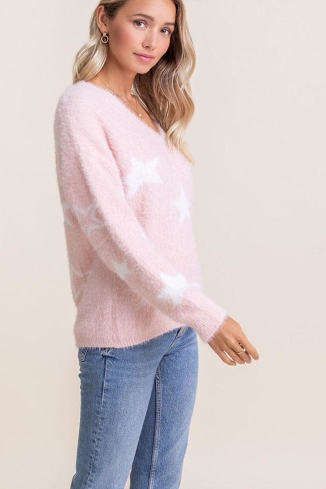 Lush Fuzzy Star Sweater - Side Cropped Image