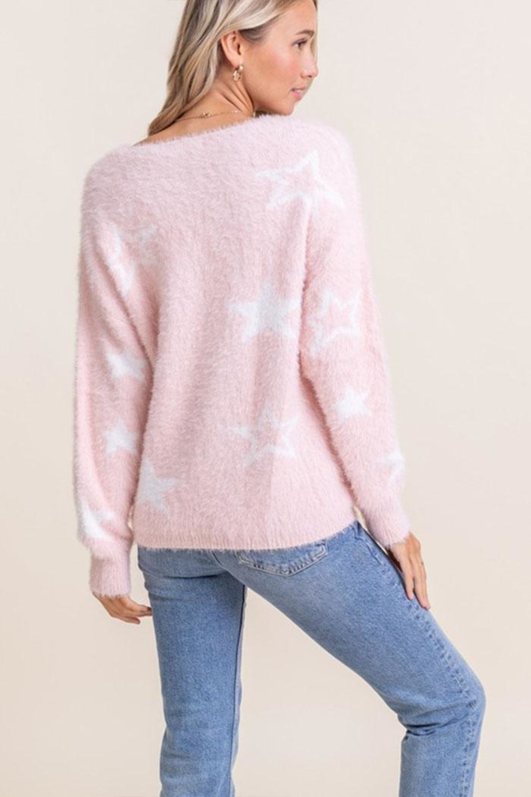 Lush Fuzzy Star Sweater - Back Cropped Image