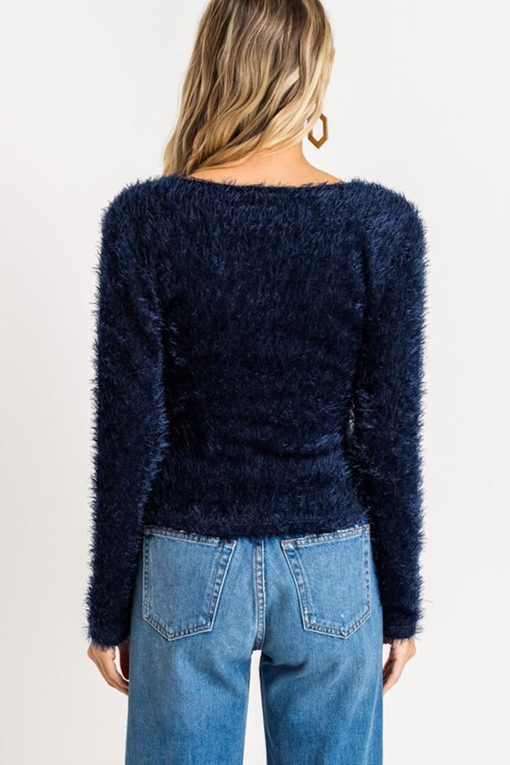 Lush Fuzzy Wrap Sweater - Front Full Image