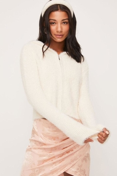 Shoptiques Product: Fuzzy Zip-Up Sweater