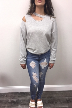 Shoptiques Product: Grey Ripped Sweatshirt