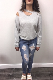 Lush Grey Ripped Sweatshirt - Product Mini Image