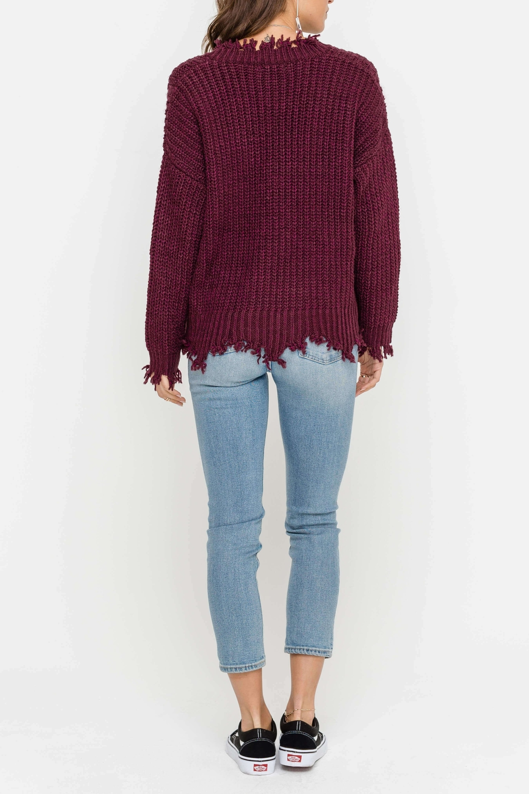 Lush Hem Destroyed Sweater - Front Full Image